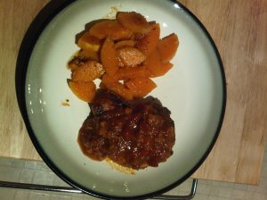 Rubbed pork chops topped with salsa and squash